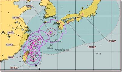 長月㏰_台風16号予想進路あまり変化なし